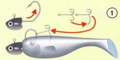 Одевание виброхвоста на джиг-головку